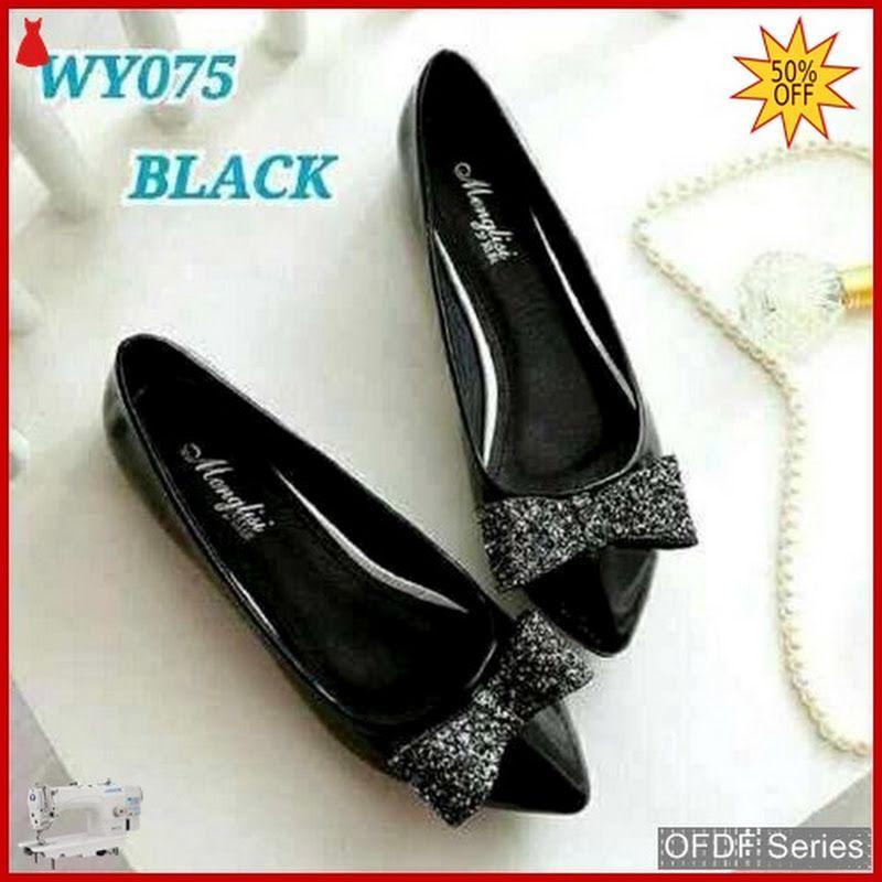 Ofdf164 Sepatu Flat Cantik Glitter Flatshoes Hitam Sepatu Wanita