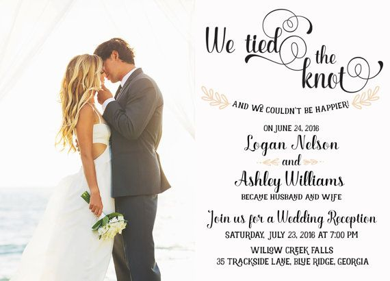 Wedding Reception Invitation, We Tied The Knot! Elopement
