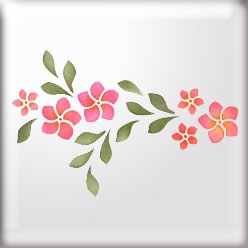 Frangipani Flower Border Stencil | butterflies | Pinterest ...
