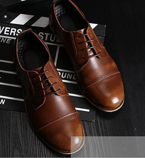 Luxury Brand Men Formal Shoes Dress Round Toe Business Clic Gentleman Leather Wedding Tan Brown Black