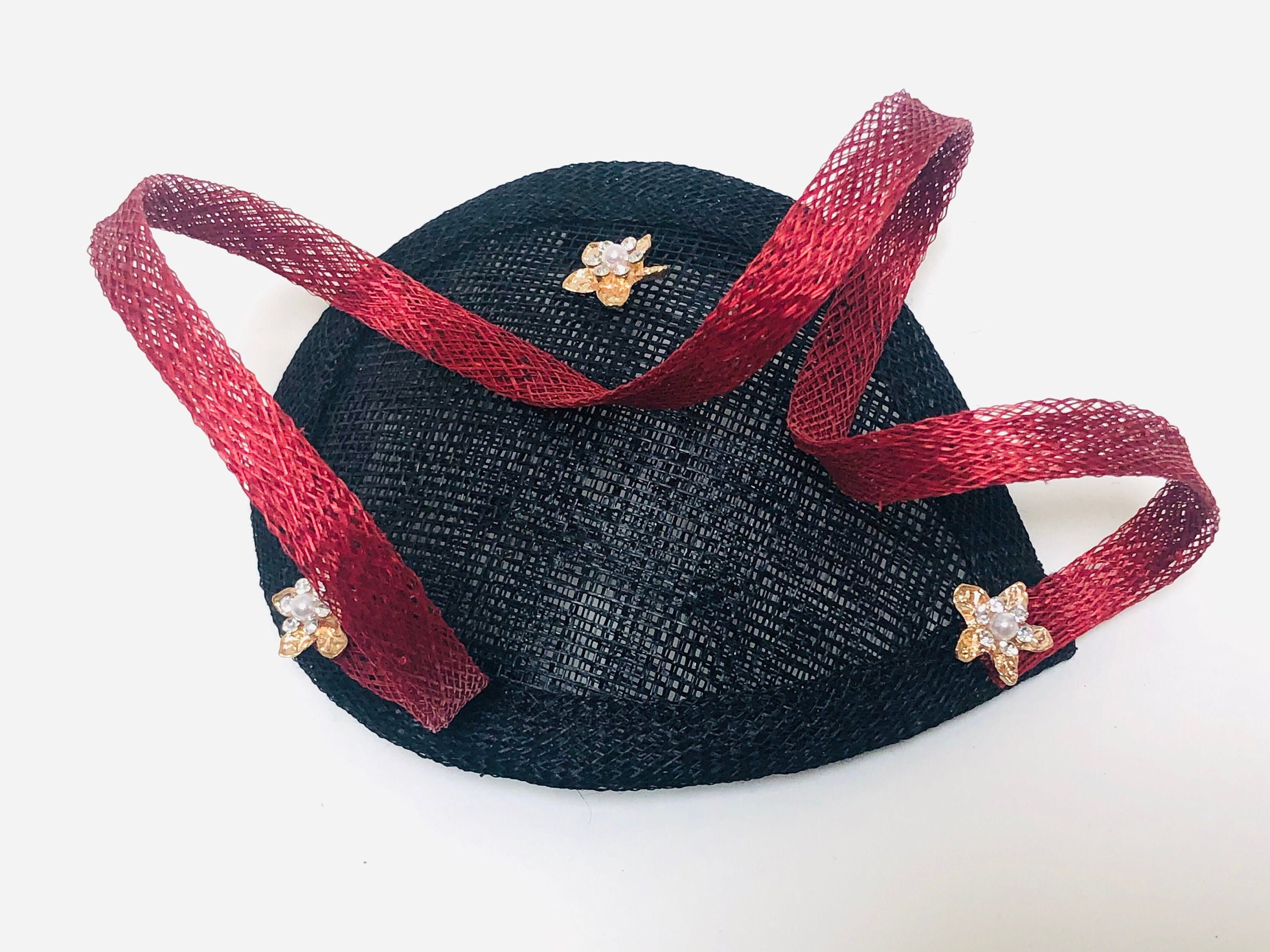 Kentucky Derby Fascinator, Small Cocktail Hat, Black Mini Fascinator