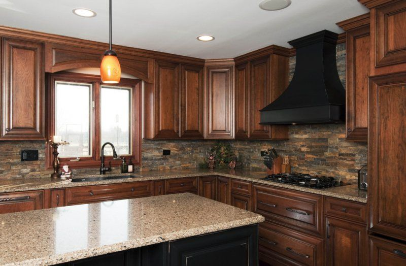 Unique Kitchen Backsplash Ideas with Brown Cabinets
