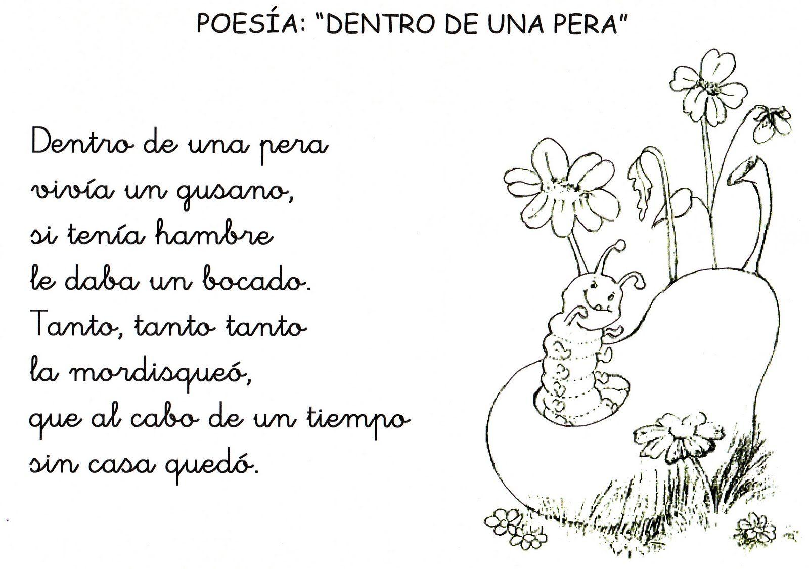 Lenguaje Oral En Ed Infantil Poesia Dentro De Una Pera Poesias Infantiles Poemas Infantiles Poemas Para Ninos