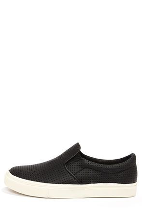 Black Slip-On Perforated Sneakers