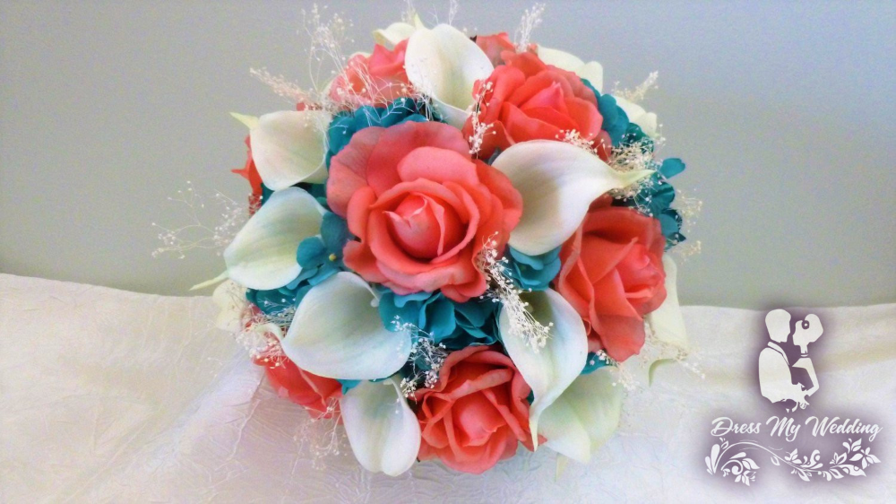 Dress My Wedding – Coral and turquoise bouquet #turquoisecoralweddings