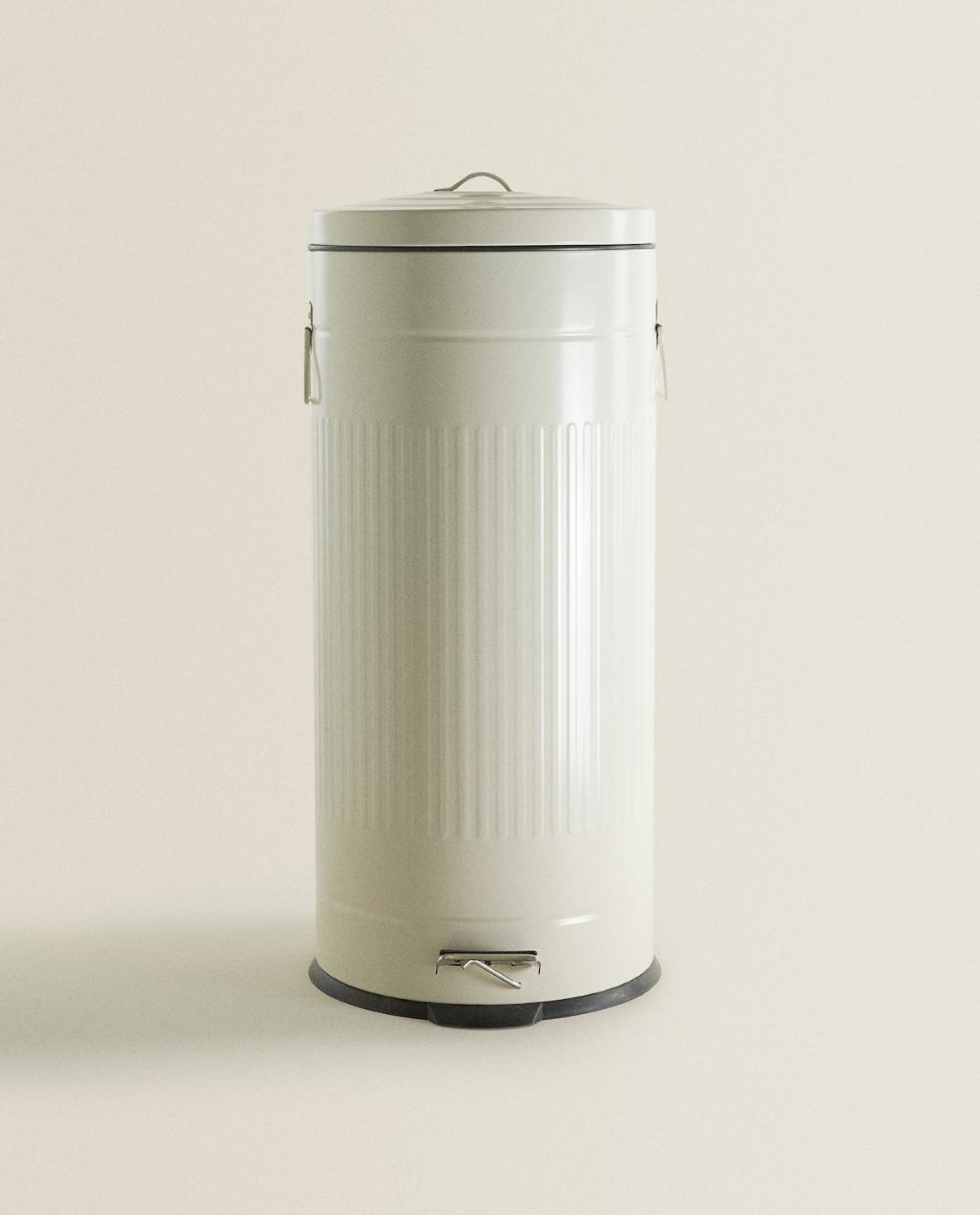 White Enamel Kitchen Garbage Can