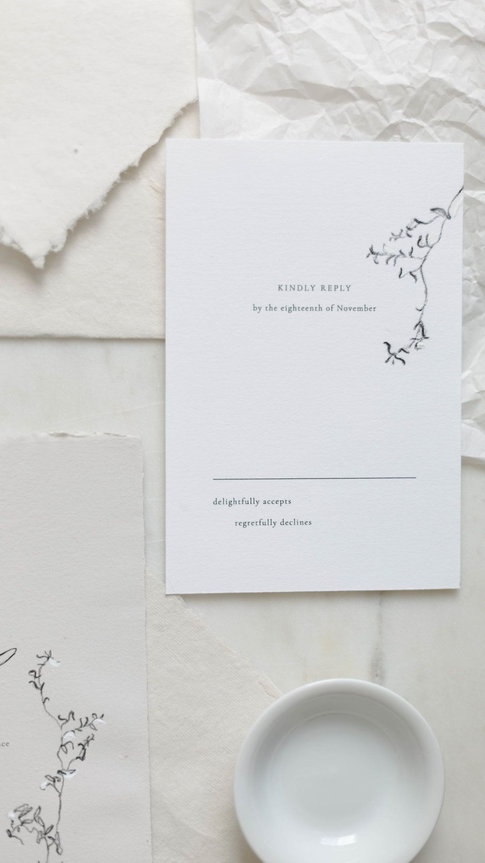 Fine Art Handmade Paper Wedding Invitation Suite With Charcoal Vine