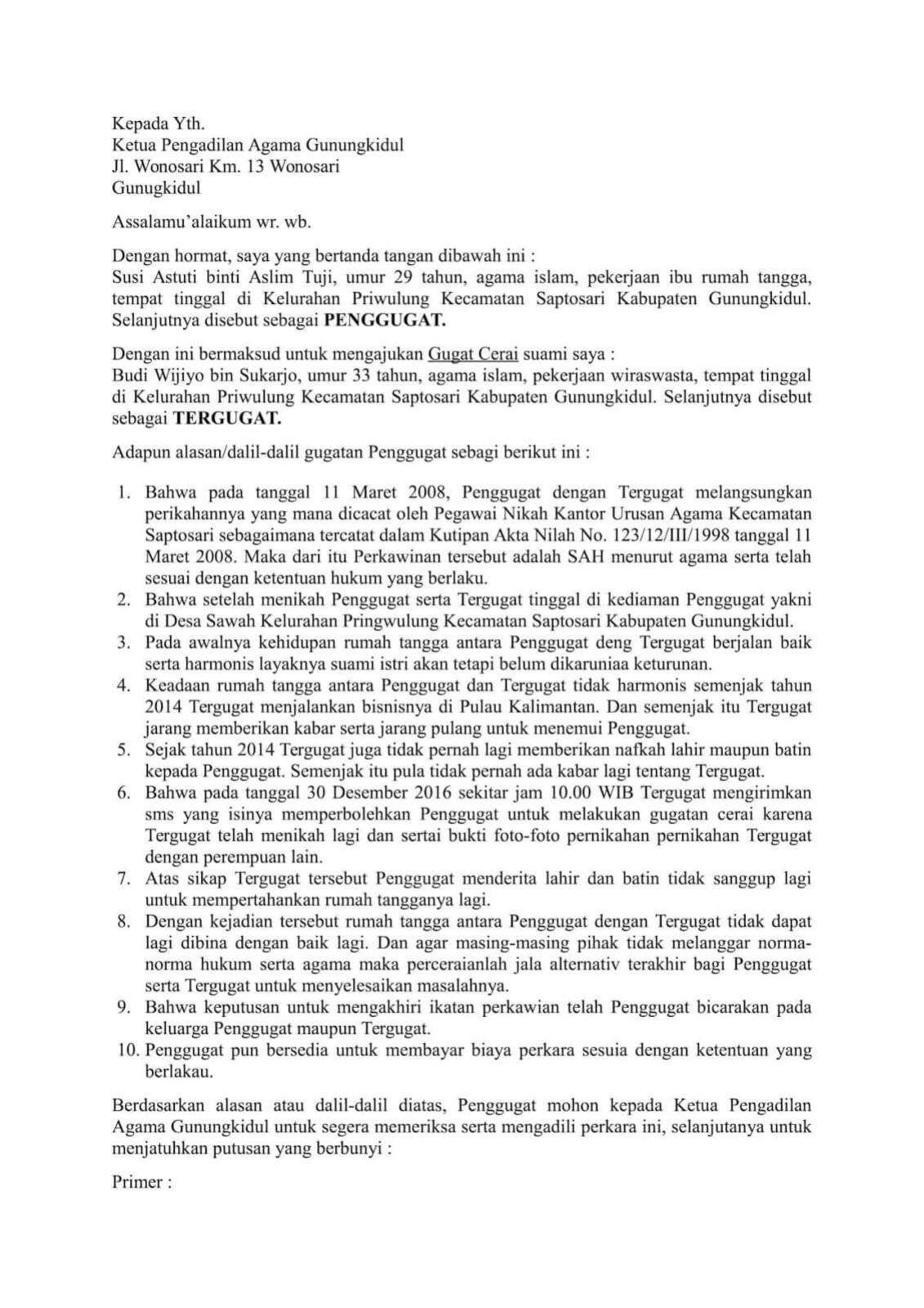 Contoh Surat Gugatan Cerai Pdf