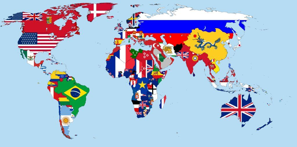 Flag Map of the World 1900 Maps