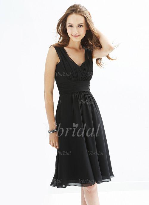 Bridesmaid Dresses -  105.29 - A-Line Princess V-neck Knee-Length Chiffon  Bridesmaid Dress With Ruffle (0075057124) 9ed5b718b