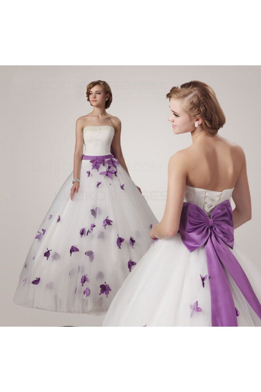 Ball Gown Strapless Purple White Wedding Dresses Bridal Gowns 3030192 Butterfly Wedding Dress Purple Wedding Dress Ball Gowns Wedding [ 1500 x 1000 Pixel ]
