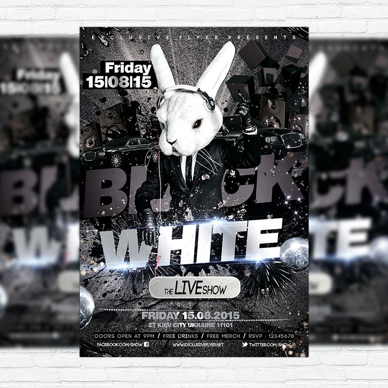Black \ White - Premium Flyer Template + Facebook Cover http - black flyer template
