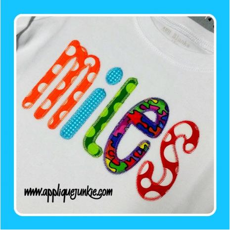 Skinny Font Applique with Zigzag stitch