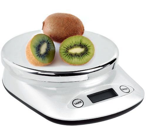 WeighMax 5KG/ 11LB Digital Multifunctional Kitchen Scale, Silver by WeighMax. $12.99. Easy to use multifunction digital scale; Perfect for cooks, dieters and families. Tare feature eliminates the weight of a plate. Platform diameter 5.5 inch. Max weight 11lbs; Displays ounces/lbs/grams/kgs; Graduation .05 oz / 1 gram. 4 AAA batteries included. This elegant 11 pound kitchen scale makes a great addition to anyone's kitchen. It is attractive and simple to use. Comes complete wit...