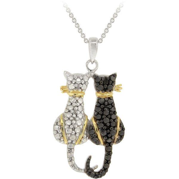 db designs tri color black diamond accent two cats necklace two tone 39