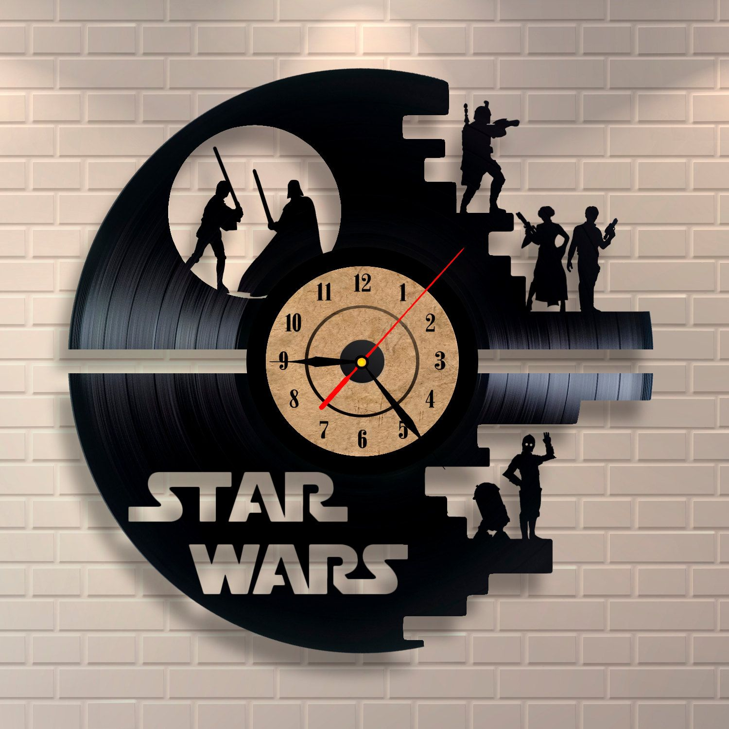 star wars vinyl clock via etsy what we watch pinterest ideen geschenkideen und star wars. Black Bedroom Furniture Sets. Home Design Ideas