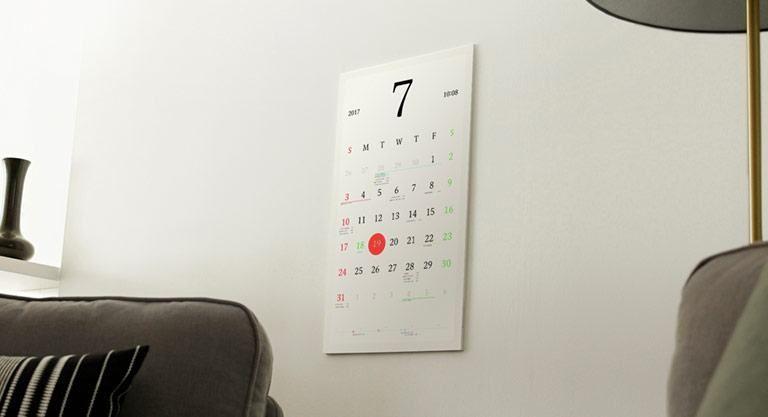 Magic Calendar é produzido com tela e-ink de alta resolução que oferece a conexão entre os calendários virtuais e o mundo físico que nos rodeia.