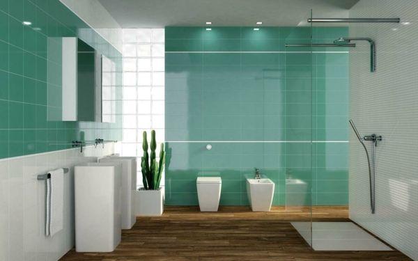 badezimmer grün fliesen duschkabine glas weiße badmöbel ... - Fliesen Badezimmer Beispiele