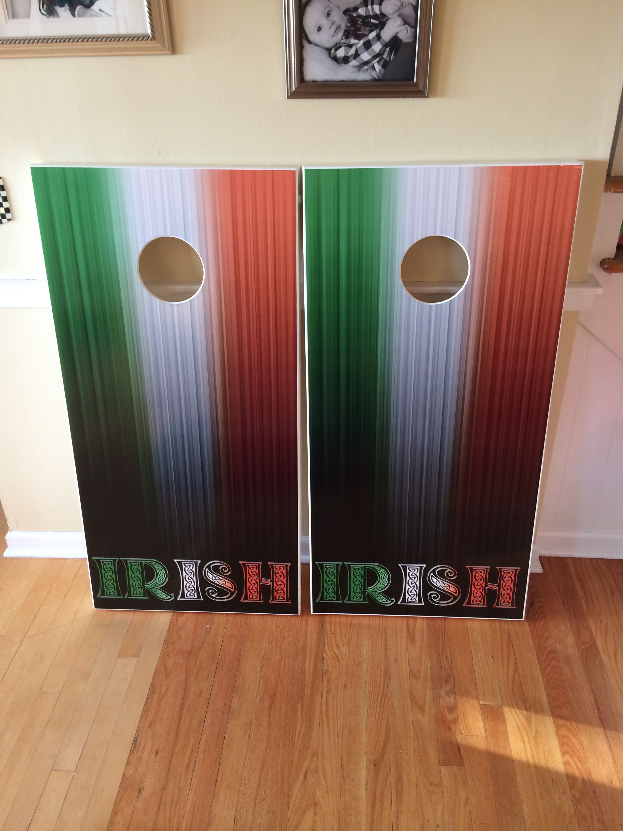 Irish themed cornhole boards.