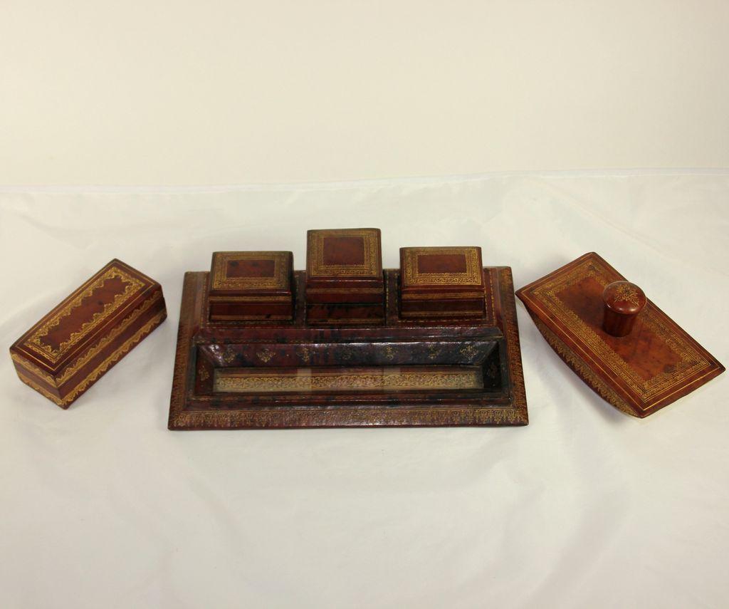Italian tooled leather desk set, inkwell - Italian Tooled Leather Desk Set, Inkwell Antique Desk Accessories