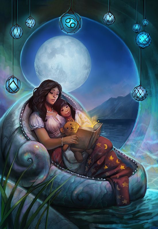 Cancer: June 22 - July 22. Cardinal water sign. Nurturing, protective, nostalgic, may appear hard on the outside but is sensitive on the inside. Colors: Pearl, blue-green, iridescent blues. Associated with caretakers, family, tradition, boats, lakes and streams, water plants, the moon, and being in tune with natural cycles. I decided to depict this sign as a woman reading a bedtime story to a little girl, floating on the water in a shell-house-boat thing.