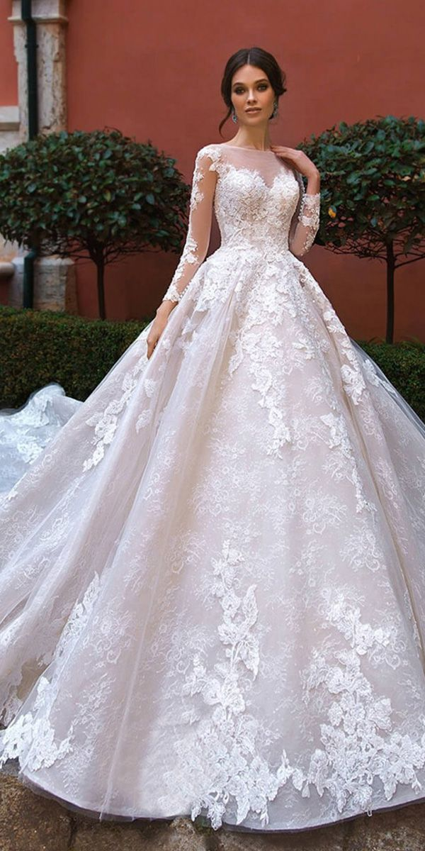 [335.39] Splendid Tulle Jewel Neckline Ball Gown Wedding Dresses With Beadings & Lace Appliques - magbridal.com.cn