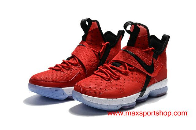 Mens 2017 Nike LeBron 14 All Red Black Logo Basketball Shoes