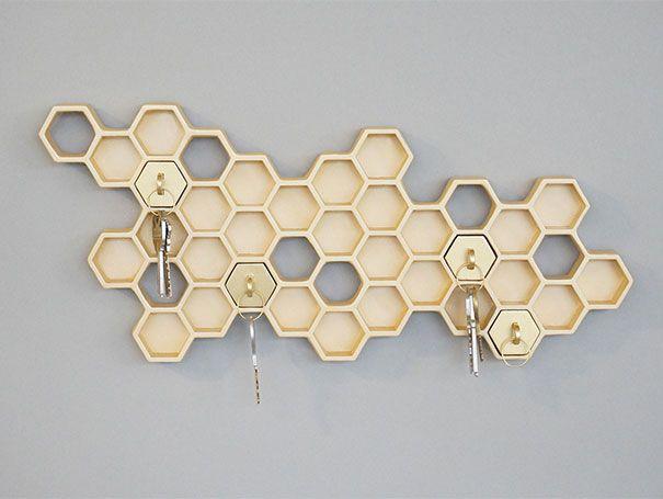 20 porte cl s et bo tes cl s originaux 20 porte cles boite a clef originaux alveole de ruche 1. Black Bedroom Furniture Sets. Home Design Ideas