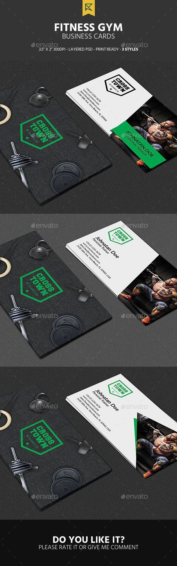 3 Fitness Gym Business Cards Business Cards Print Templates