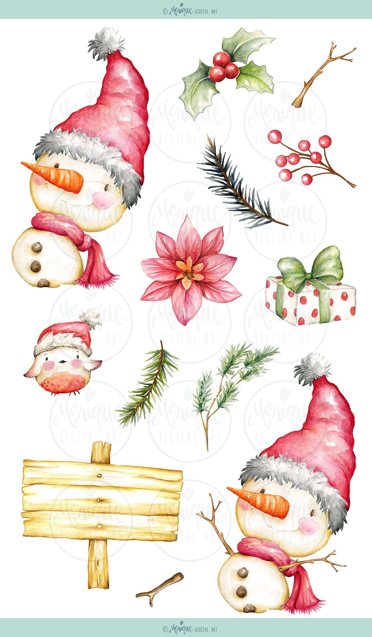 Snowman Clipart Watercolor items GORGEOUS Examples sale