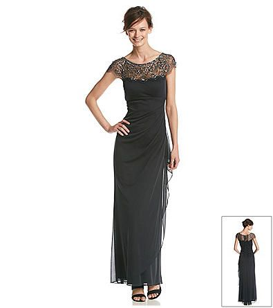Xscape Long Dress With Illusion Beaded Top | Boston Store
