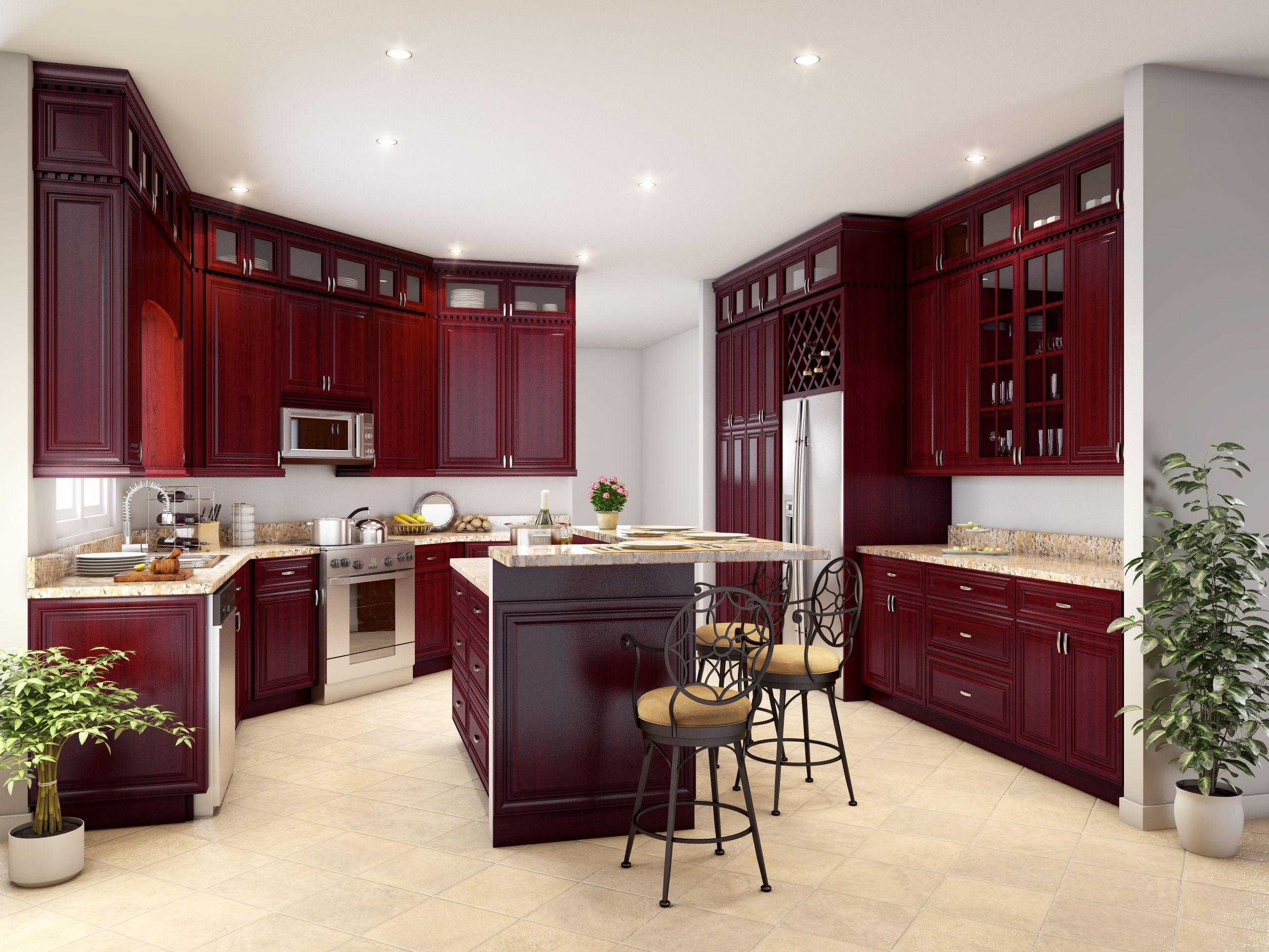 Alder species cherry color mitered raised panel full overlay style 3/4'' thick - five piece raised panel doors