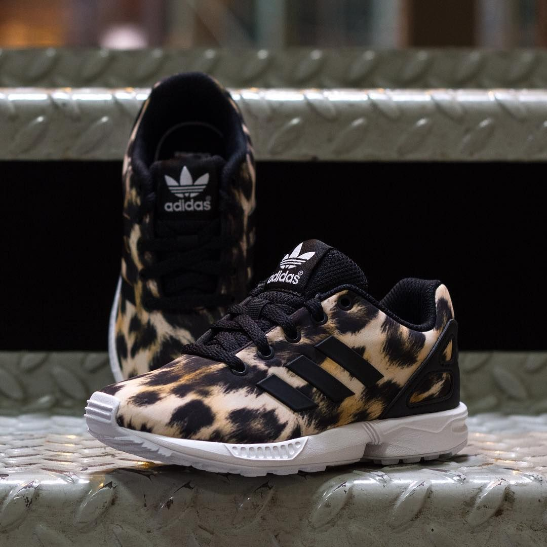many fashionable classic huge discount The Adidas ZX Flux sneakers with Cheetah Print for kids ...