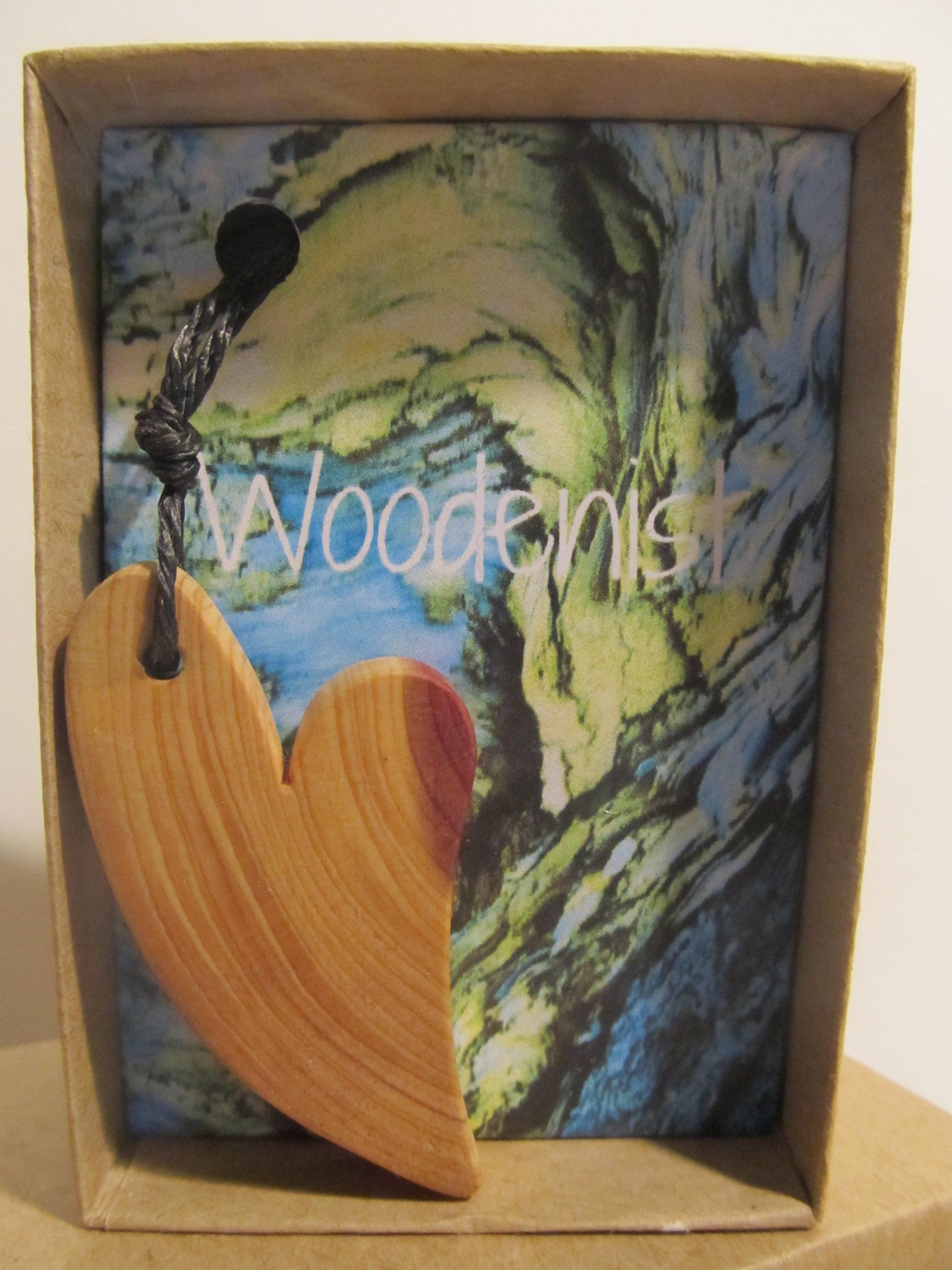 Wood Heart Necklace Black Hemp Cord Wooden Pieces Jewelry