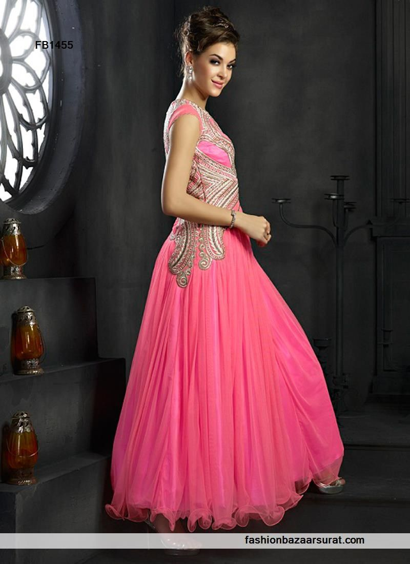 Desire Hot Pink Net Wedding Gown | Indian Gowns Online Collections ...