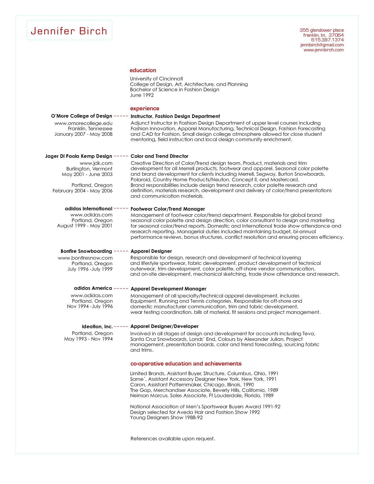 senior fashion designer resume