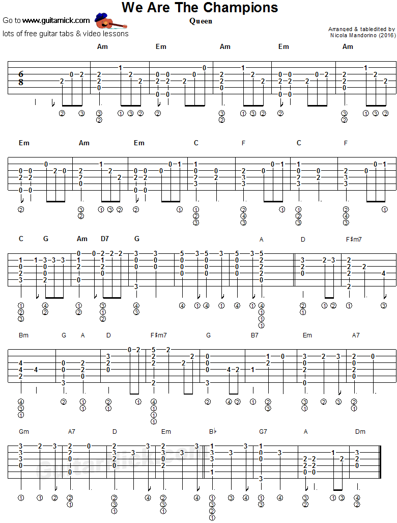 We Are The Champions   Fingerstyle guitar tab   Guitar tabs ...