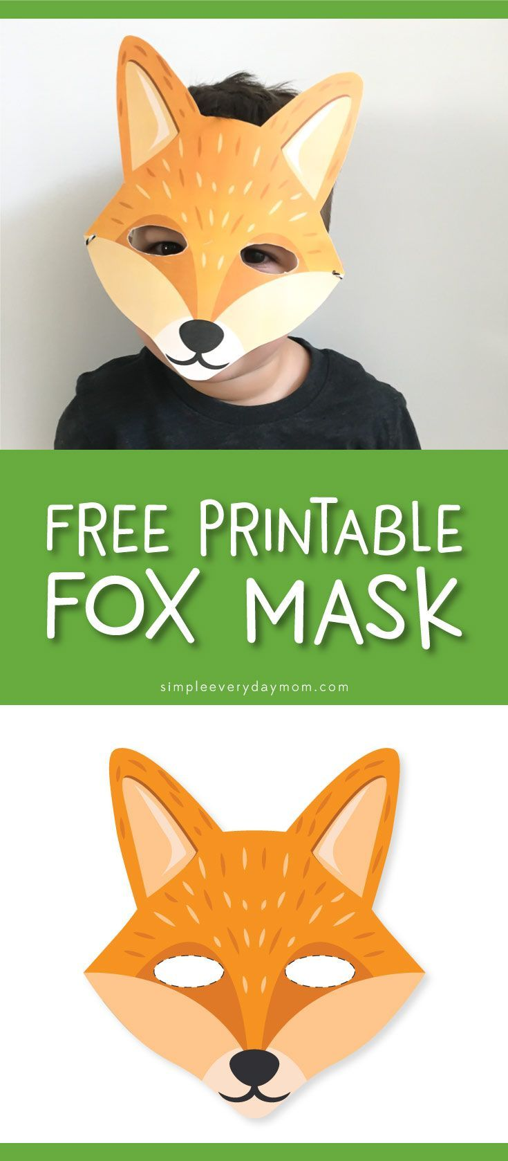 printable fox animal mask for kids | dramatic play for toddlers or ...