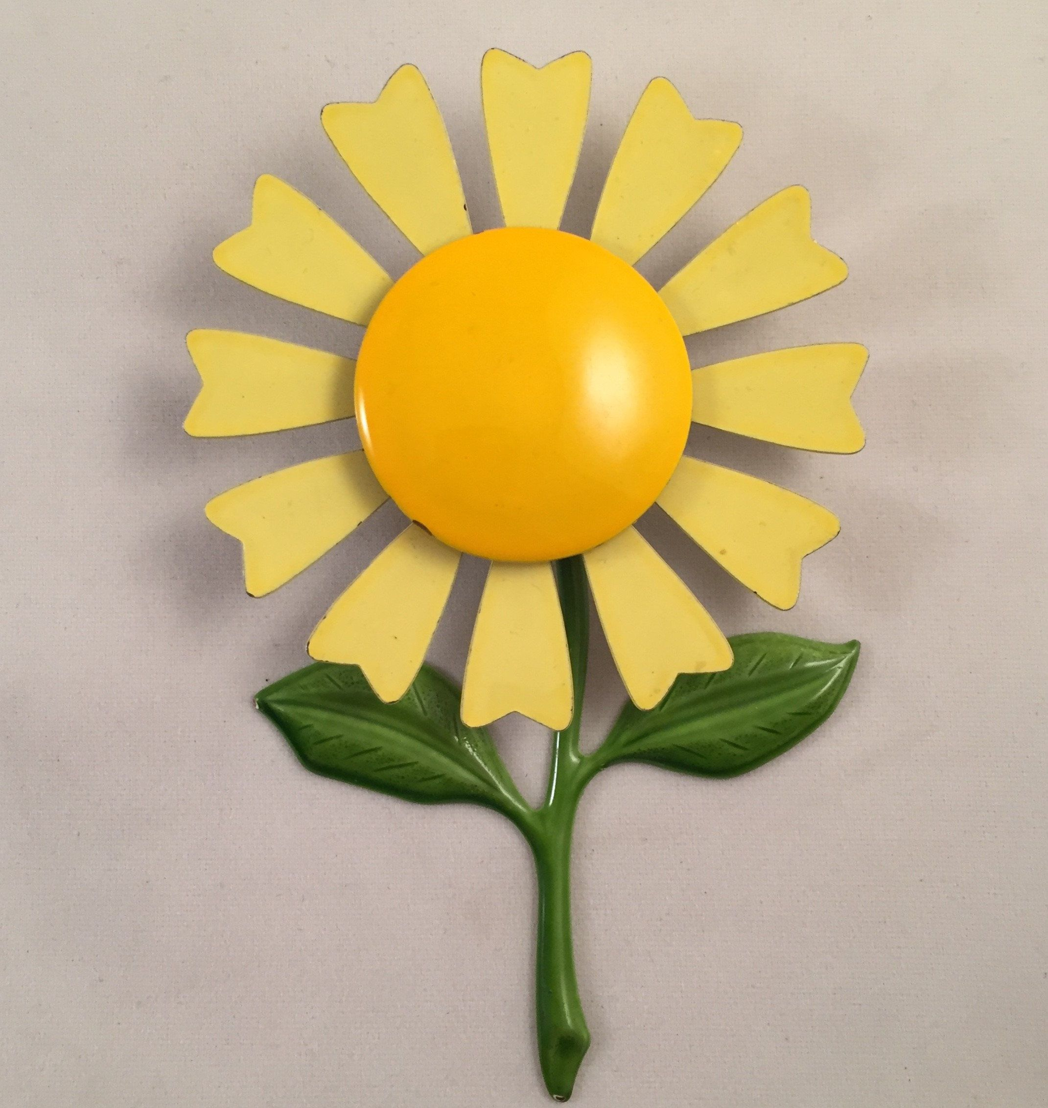 Large Vintage Enamel Yellow Flower Brooch Pinwheel Flower Pin