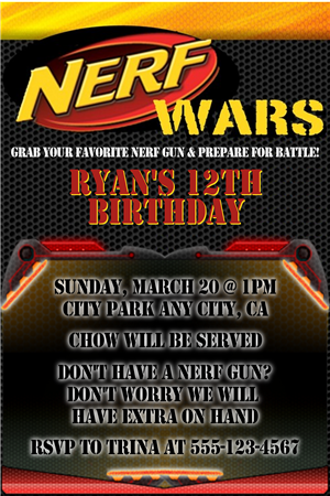 Nerf Invitation Template NerfBirthdayInvitesm Books Worth - Party invitation template: nerf war party invitation template