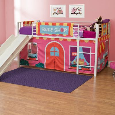 Dhp Bakeshop Curtain Set For Junior Loft Bed Junior Loft Beds Loft Bed Bunk Bed With Stairs And Storage