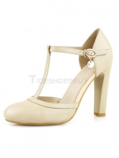 fce1436eb1 Beautiful Nude Color Round Toe Chunky Heel Cowhide Women's High Heels
