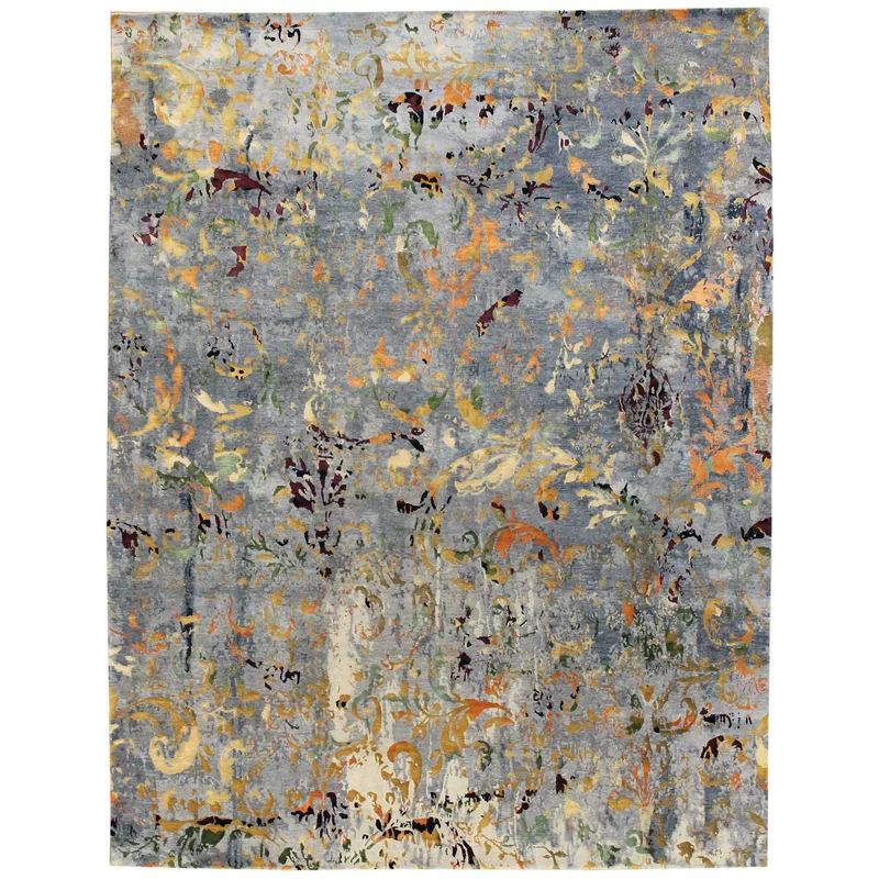 Danielle Abstract Hand Knotted Taupe Gray Area Rug Area Rugs