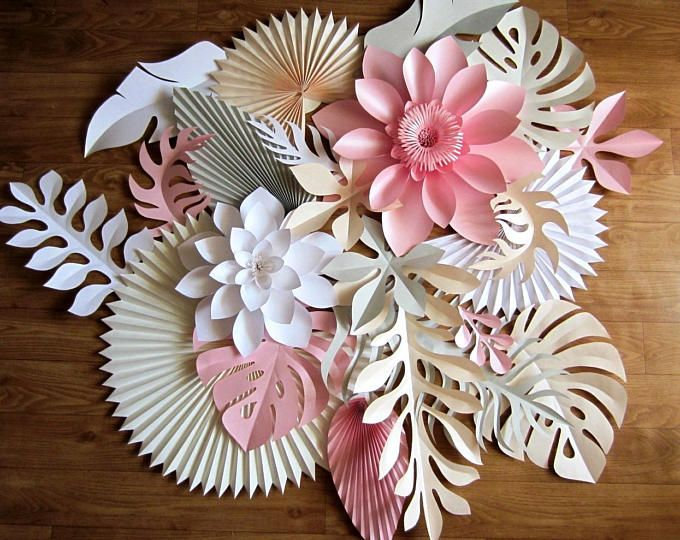 Photo of Hawaiian Party Paper Leaves and Flowers Backdrop