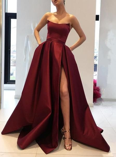 d82dd59b5d Burgundy Prom Dresses Strapless Bodice Corset Long Evening Bridesmaid Gowns  With Leg Split Strapless Formal Dress