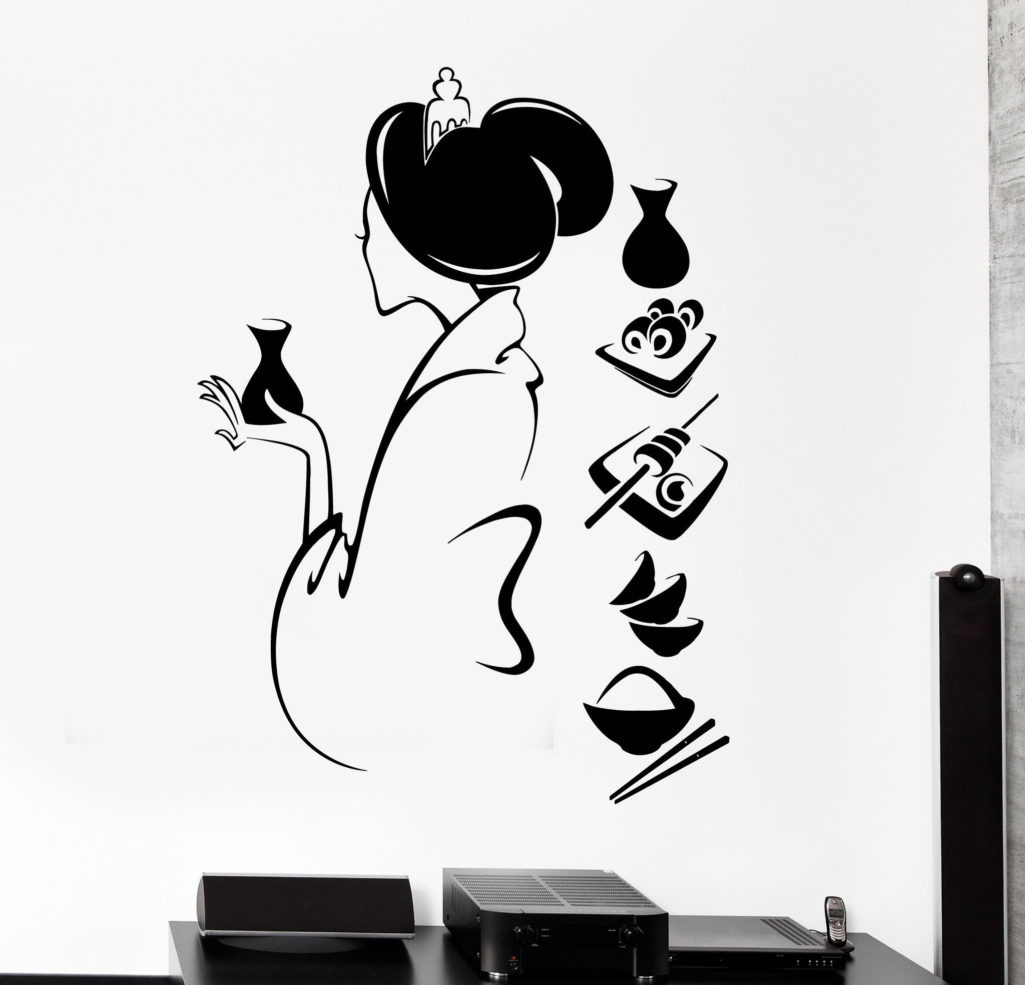 Wall Decal Japan Japanese Oriental Food Sushi Restaurant Unique Gift