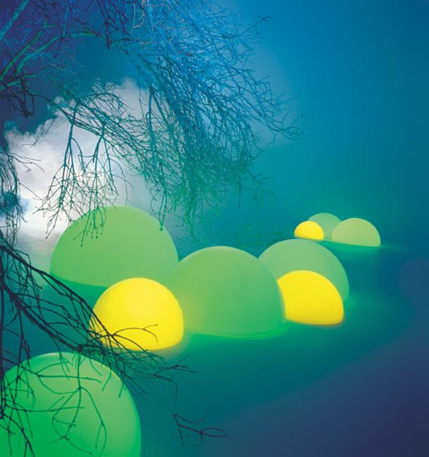 These polyethylene spheres are speakers! They stream music and light up  with energy-efficient