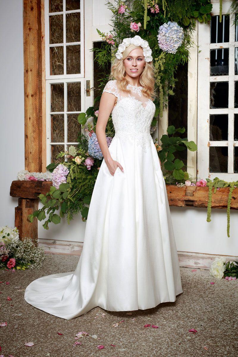 Ivory wedding dresses with sleeves  Wren  Wren  A Line Wedding Gown  Ivory  Wedding Dress  Amanda