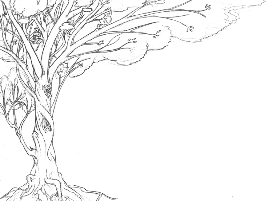 403 Forbidden Line Art Tree Line Drawing Art