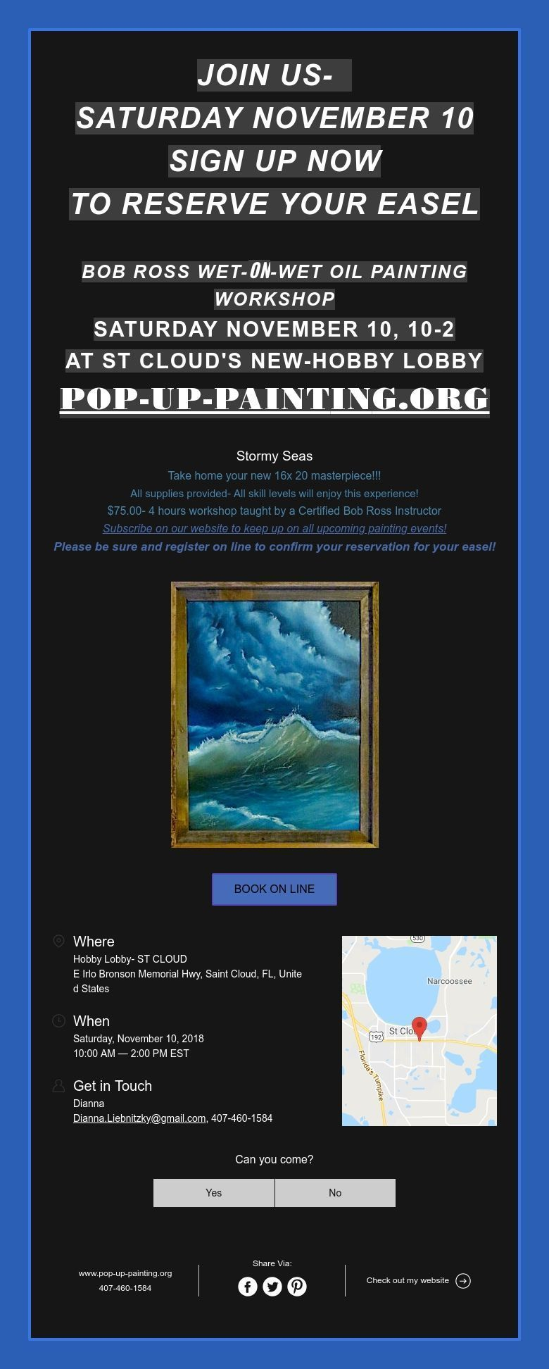 Join Us Saturday November 10 Sign Up Now To Reserve Your Easel Bob